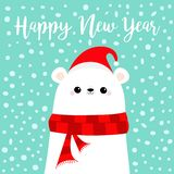 Happy New Year. Candy cane. Polar white bear cub face in red Santa hat, scarf. Cute cartoon baby character. Merry Christmas Arctic royalty free illustration