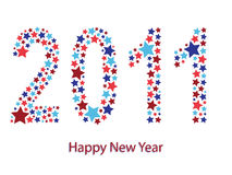 Happy new year card. Red and blue star 2011 happy new year greeting card Royalty Free Stock Photo
