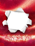 Happy new year card. With white hole, smple text stock illustration