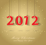 Happy new year card. Happy new year 2012 gold and red greeting card Stock Image