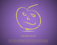 Happy New Year Card. Yellow happy face on violet background Royalty Free Illustration