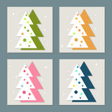 Happy New Year Card. With Abstract Christmas Trees Stock Photography