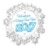 Happy New Year 2017 card with abstract snowflakes. On white background - vector illustration Stock Image