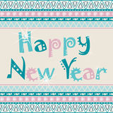 Happy New Year card with African ornament design. Stock Image