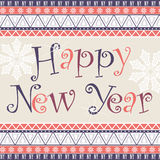 Happy New Year card with African ornament design. Stock Images