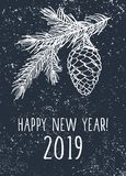 Happy New Year 2019 card. Background with pine branches and cone. Winter elements with chalk on the blackboard. Vector illustration vector illustration