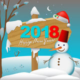 2018 Happy New Year card or background with snowman,.  Royalty Free Stock Photos