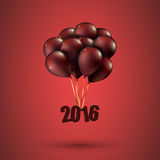Happy new year 2016 card, balloons font, editable Royalty Free Stock Images