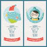 Happy new year card. With bird and christmas boy. Vector illustration Happy new year and happy holidays Stock Photos