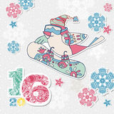 Happy New Year card with bird snowboarder, multicolor figures  Royalty Free Stock Photo