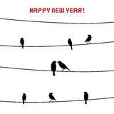 Happy new year 2014 card16. Birds on the wire. Inlove card in New year day Vector Illustration