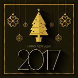 Happy new year 2017 card black gold Vector Illustration
