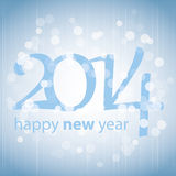 Happy New Year 2014 Card. Blue Abstract New Year Card, Cover or Background Design in Freely Scalable and Editable Vector Format Stock Image