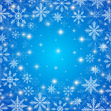 Happy New Year Card . Blue background  with golden snowflakes Stock Image