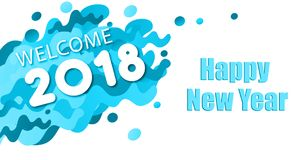 Happy new year 2018 card. Blue color Happy new year 2018 Royalty Free Stock Photo