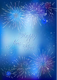Happy New Year card with blue fireworks Stock Images