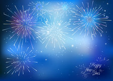 Happy New Year card with blue fireworks Royalty Free Stock Photography
