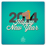 Happy New Year card, 2014. New Year card 2014 year of the blue horse, vector Eps10 illustration Stock Photos