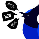 Happy New Year card with Blue Jay. Flat design. Stock Images