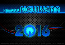 Happy New Year Card. Blue Lightning Neon Illustration, Vector Stock Image
