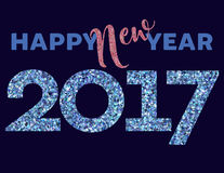 Happy New Year 2017. Card with blue and pink glitter texture vector illustration