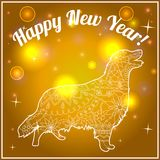 Happy new year card on bokeh background. With dog vector illustration