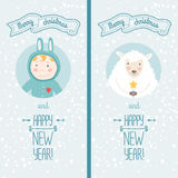 Happy new year card with boy and sheep. Happy new year card with cute boy and christmas sheep. Vector illustration Merry christmas and Happy new year with Stock Photography