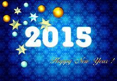 Happy New Year 2015. Card.Bright greeting card. Blue background with toys Stock Photos