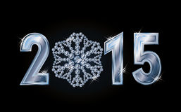 Happy 2015 new year card with brilliant  snowflake Stock Photos
