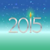 Happy new year  2015 card with candle flame Stock Photos