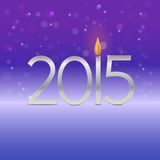 Happy new year  2015 card with candle flame Royalty Free Stock Photos