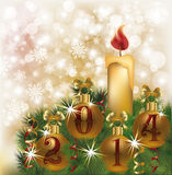 Happy New 2014 Year card with candle Stock Images