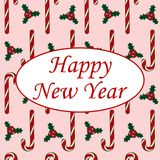 Happy New Year card candy cane on a pink background holly berry. Leaves pattern illustration vector Royalty Free Stock Photography