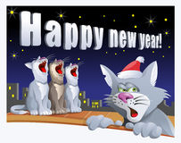 Happy new year card with cats. On the roof. Cartoon styled vector illustration. Elements is grouped and divided into layers Royalty Free Stock Photo