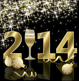 Happy New 2014 year card with champagne. Vector illustration Royalty Free Illustration