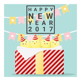 Happy new year 2017 card with chicken , animal new year of 2017. Vector, illustration Royalty Free Stock Photos