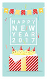 Happy new year 2017 card with chicken , animal new year of 2017. Vector, illustration Stock Image