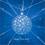 Happy New Year card with christmas ball. Stock Photography