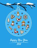 Happy New Year 2018 card with Christmas ball on snowy branch. Christmas ball with painted gingerbreads and snowflakes. Winter holiday festive poster design Stock Photo