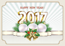 Happy New Year 2017. Card with Christmas balls and bells Stock Images