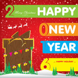 Happy New Year 2016 card. Christmas tree and gift on red background. Vector background Royalty Free Stock Image