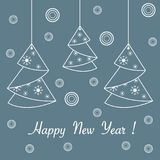 Happy New Year 2019 card. Christmas tree origami. Vector illustration of Christmas tree origami folded and hanging on the ropes. Design element for postcard royalty free illustration