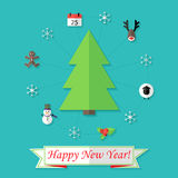 Happy New Year Card with Christmas Tree over Blue. Illustration of Happy New Year Card with Christmas Tree over Blue stock illustration