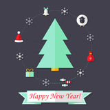 Happy New Year Card with Christmas Tree over Dark Blue Stock Photo