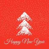 Happy New Year Card. Vector illustration. Happy New Year Card with Christmas tree sprinkled with snow. Vector illustration Royalty Free Stock Image