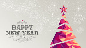Happy new year 2016 card christmas tree triangle Stock Images