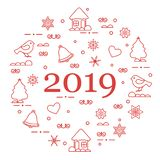 Happy New Year 2019 card. Vector illustration. Happy New Year 2019 card. Christmas trees, birds, houses, gingerbread, bells, stars, hearts, snowflakes vector illustration