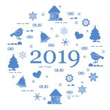 Happy New Year 2019 card. Vector illustration. Happy New Year 2019 card. Christmas trees, birds, houses, gingerbread, bells, stars, hearts, snowflakes stock illustration