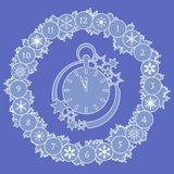 Happy New Year 2019 card. Christmas wreath, clock. Christmas wreath with fir branches, clock, snowflakes. New year and christmas symbols. Happy New Year 2019 royalty free illustration