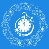 Happy New Year 2019 card. Christmas wreath, clock. Christmas wreath with fir branches, clock, snowflakes. New year and christmas symbols. Happy New Year 2019 stock illustration